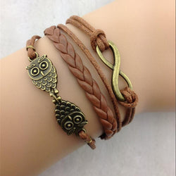 Retro Owl Multilayer Hand Knitting Leather Christmas Bracelet
