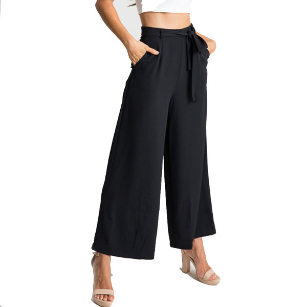 Wide Leg High Waist Loose Strap Ankle Length Pants
