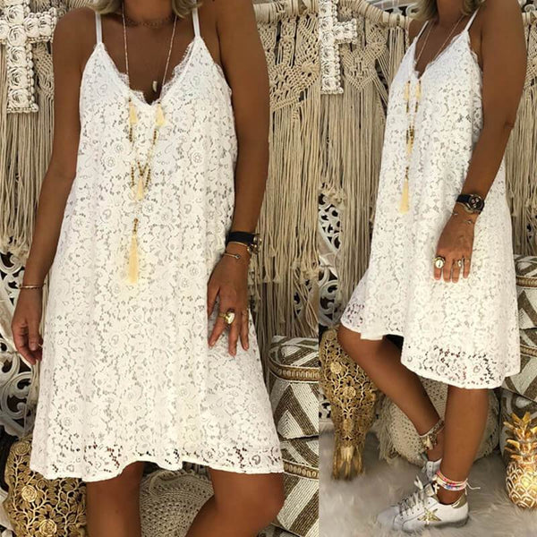 Loose Lace Sling Short Dress