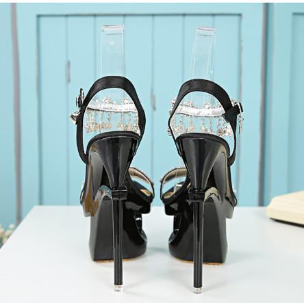 Shinning Rhinestone Cut Out High Platform Stiletto Heel Sandals - MeetYoursFashion - 5