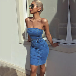 Off Shoulder Bodycon Fitted Denim Dress