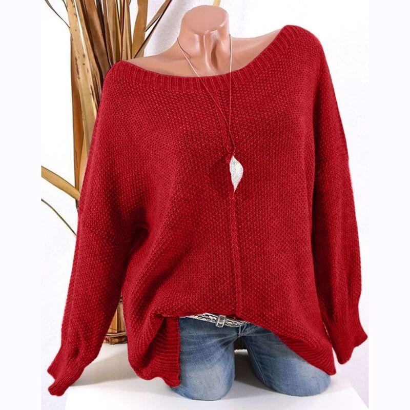 Loose  Pure Color Scoop Neck Pullover Sweater
