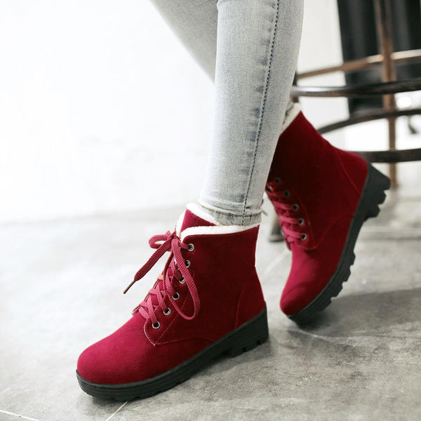 Platform Low Heel Lace Up Suede Ankle Boots