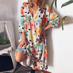 Loose Floral Summer Midi Dress