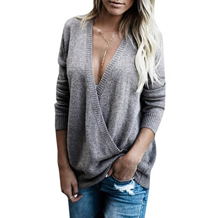 V-Neck Loose Wrap Women Sweater