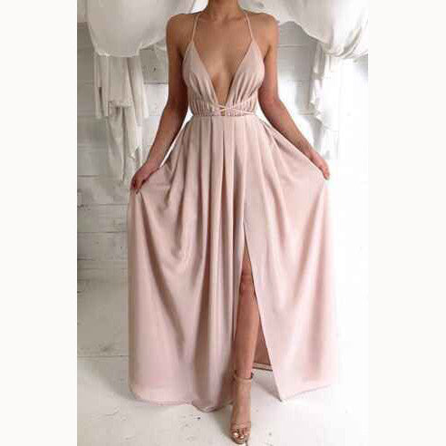 Spaghetti V-neck Backless Solid Color Long Dress - May Your Fashion - 1