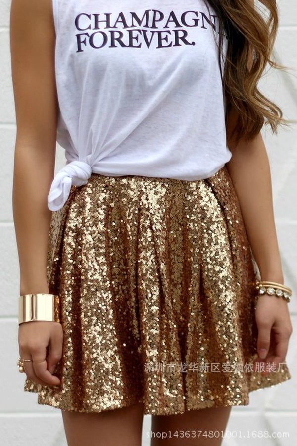Shinning Golden Sequins Pleated Loose Short Skirt