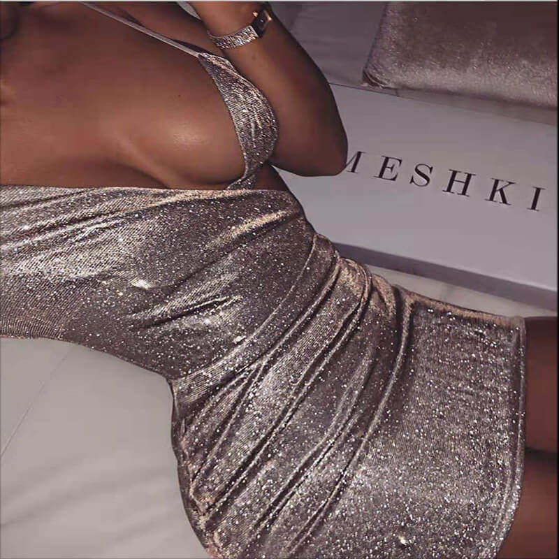 Two Pieces One Shoulder Silver Sparkling Dress