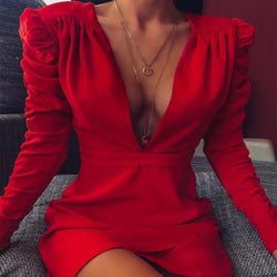 Pad Shoulder V Neck Bodycon Dress