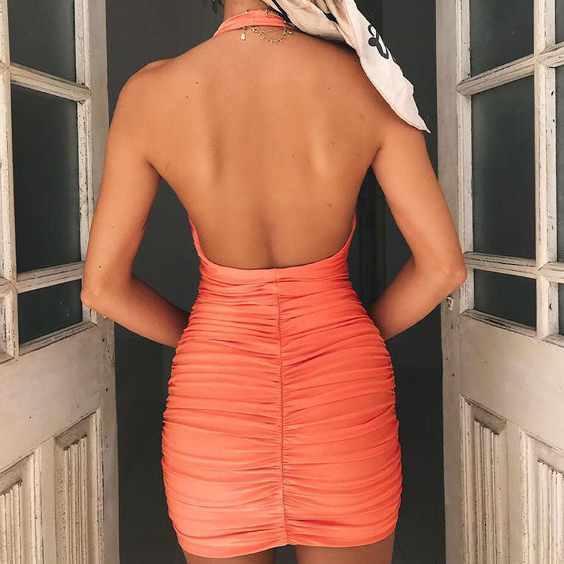 Backless Halter Ruched Dress