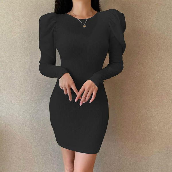 Back Lace Up Soild Bodycon Short Dress