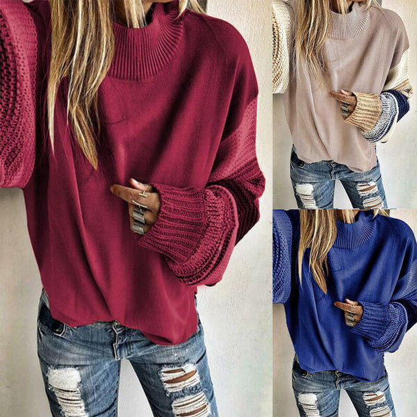 Crewneck Colorblcok Knit Sweater
