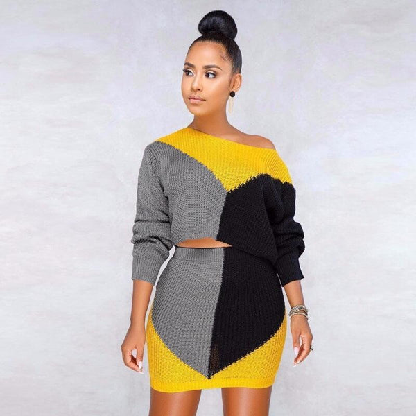Colorblock Crop Top High Waist Short Skirt Set