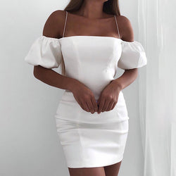 Off Shoulder Spaghetti Strap Satin Bodycon Dress