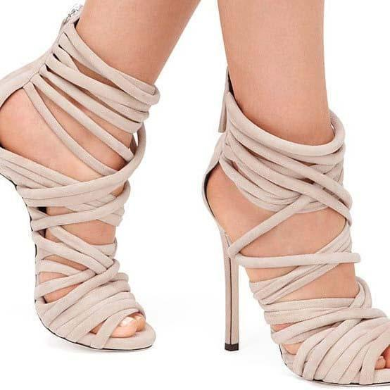 High Heel Strappy Ankle Cutout Sandals