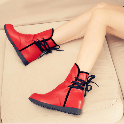 Leather Lace Up Flat Ankle Boots