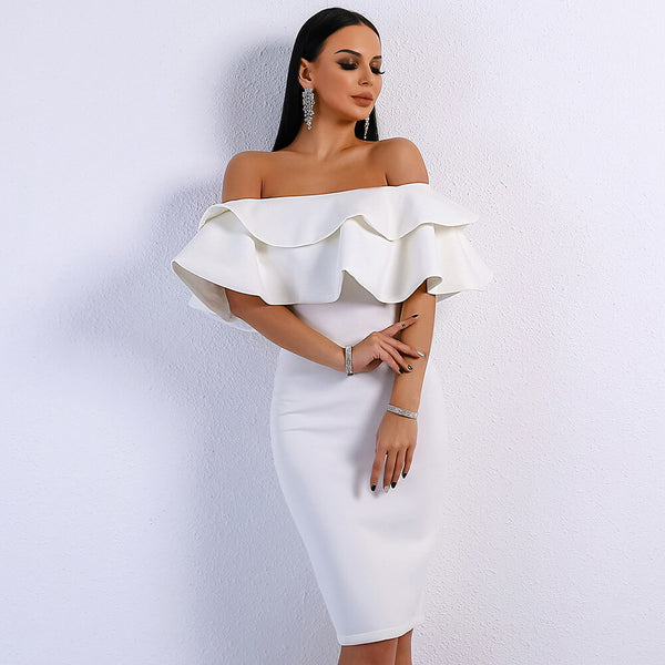 Off Shoulder Ruffle Midi Bodycon Dress