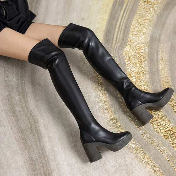 PU Platform Chunky Stretch Heel Over Knee Boots