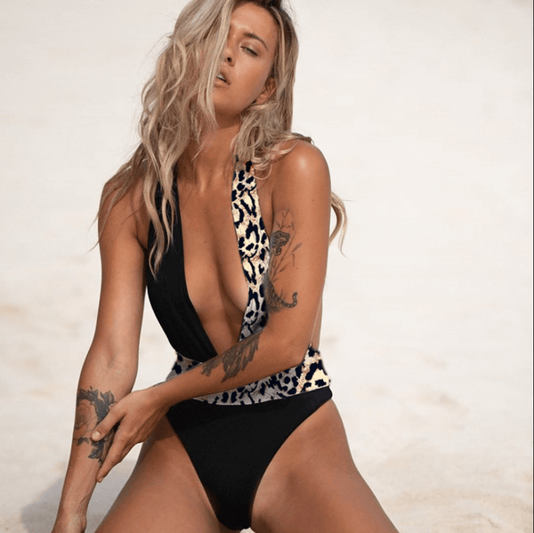 Leopard Colorblock V Neck Backless High Cut Swimsuits