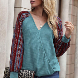 OL V Neck Patchwork Top