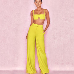 Spaghetti Straps Crop Top High Waist Pencil Pants Set