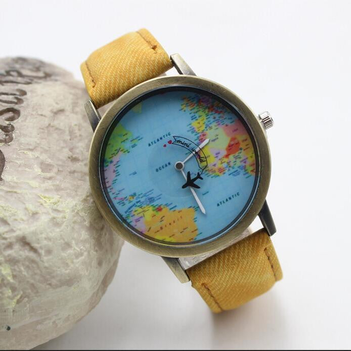 Denim Print Strap Map Plane Watch
