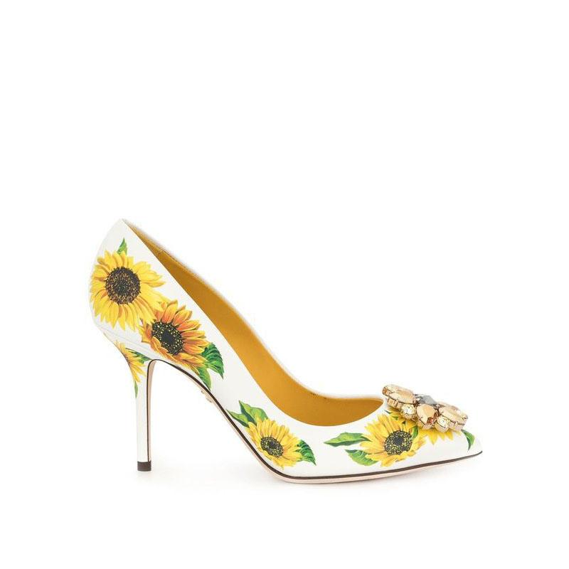 White sunflower Print Rhinestone Pointed Toe Pumps