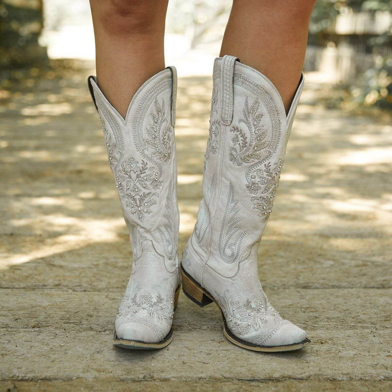 Fashion Rhinestone Round Toe Low Heel Knight Boots