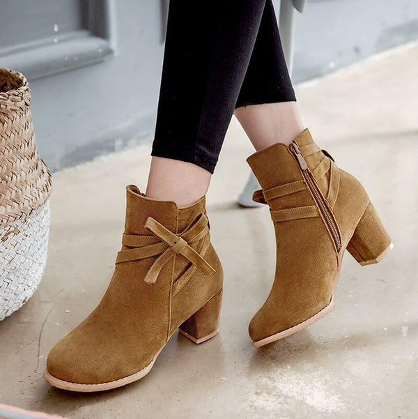 Bow Suede Low Chunky Heel Ankle Boots