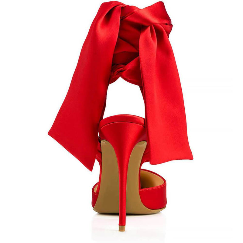 Scrub Strap Bow Point Toe Pumps