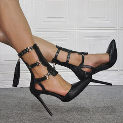 Gladiators Black PU Point Toe Buckle High Heels