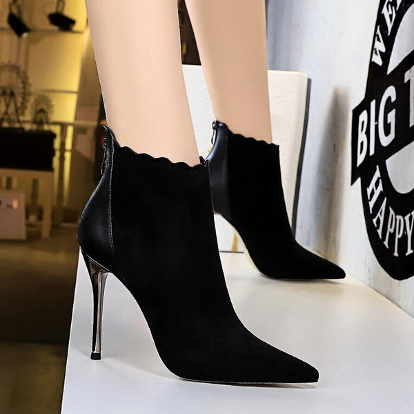 Black Suede PU Point Toe Zipper High Heel Ankle Boots