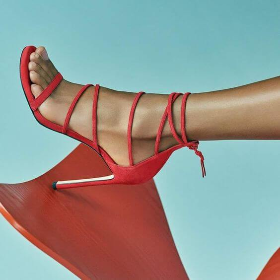 Red Suede Strap High Heel Sandals