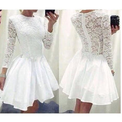 Lace O-neck Long Sleeve Short Dress - Meet Yours Fashion - 2