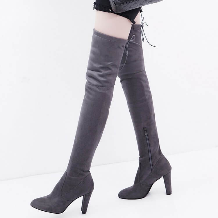 High Heel Suede Round Toe Over Knee Boots