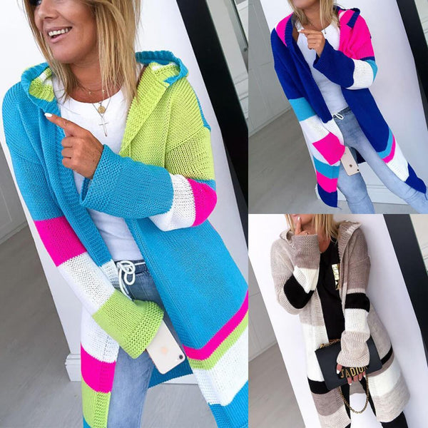 Colorblock Hooded Long Cardigan Sweater