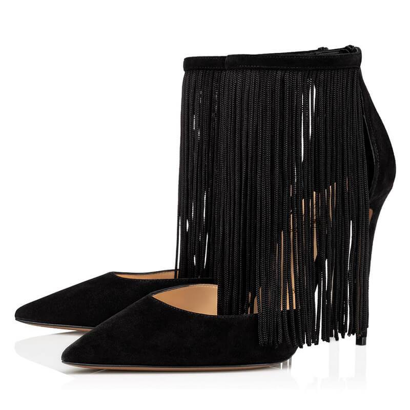 Sexy Suede Fringe Pointed Toe Zipper High Heels