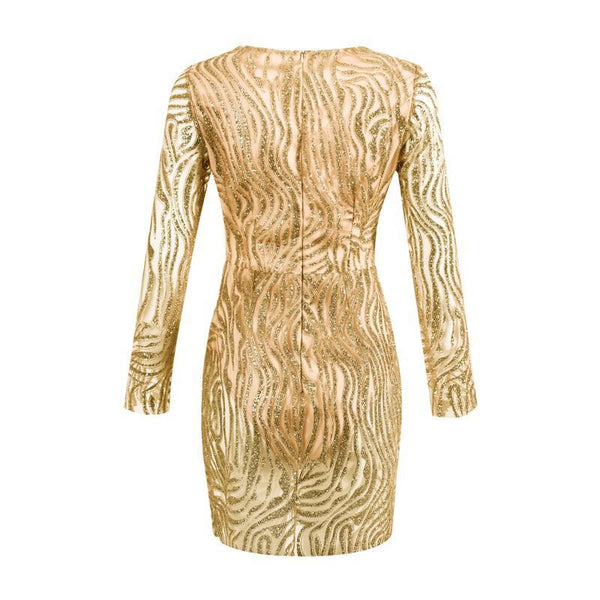Golden Sequin Sheer Bodycon Long Sleeve Dress