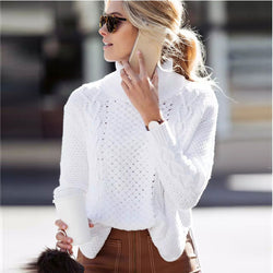 High Neck Pull Over High Slitting Sweater