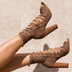 Suede Chunky Heel Peep Toe Lace Up Sandals