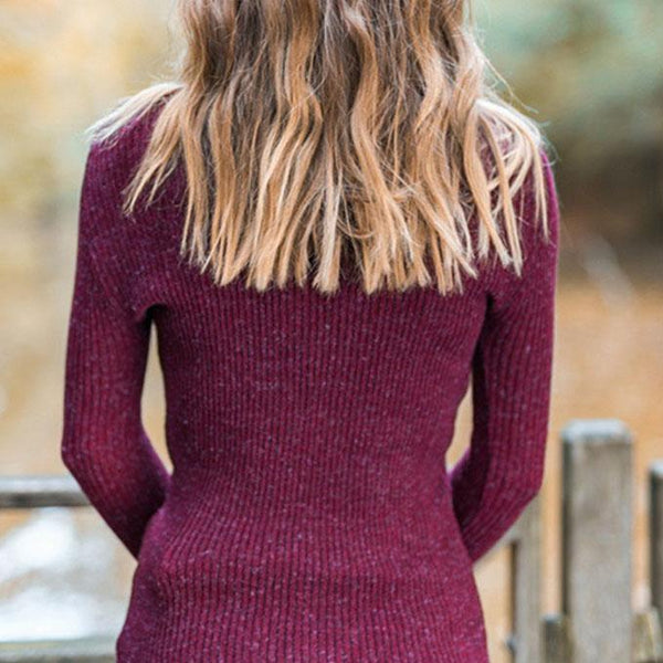 Tight Polo Neck Knit Ribbed Sweater