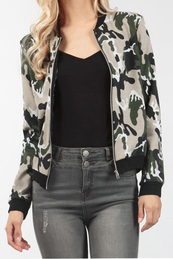 Camouflage Print Zipper Stand Collar Short Coat Jacket