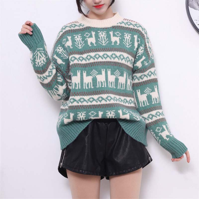 Slouchy Striped Reindeer Christmas Pullover Sweater