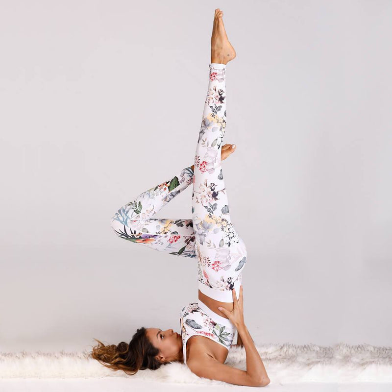 Yoga Floral Tank Top High Waist Bodycon Skinny Pant Sets