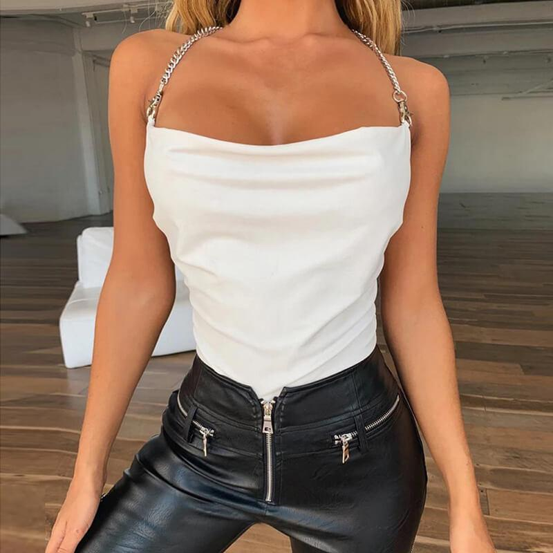 Backless Chain Halter Bodysuit