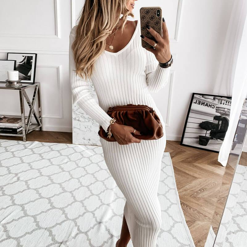 Skinny Ribbed Midi Sweater Dress