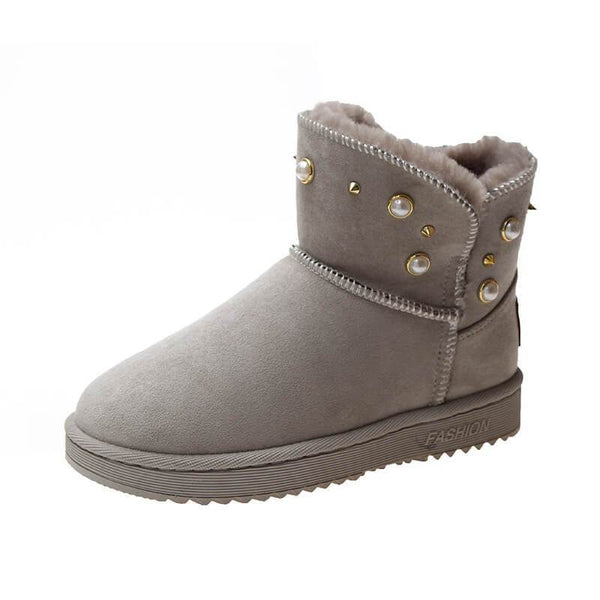 Snow Low Heel Round Toe Warm Boots