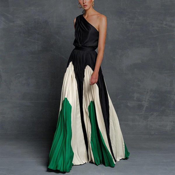 One Shoulder Colorblock Design Ankle Length Dress