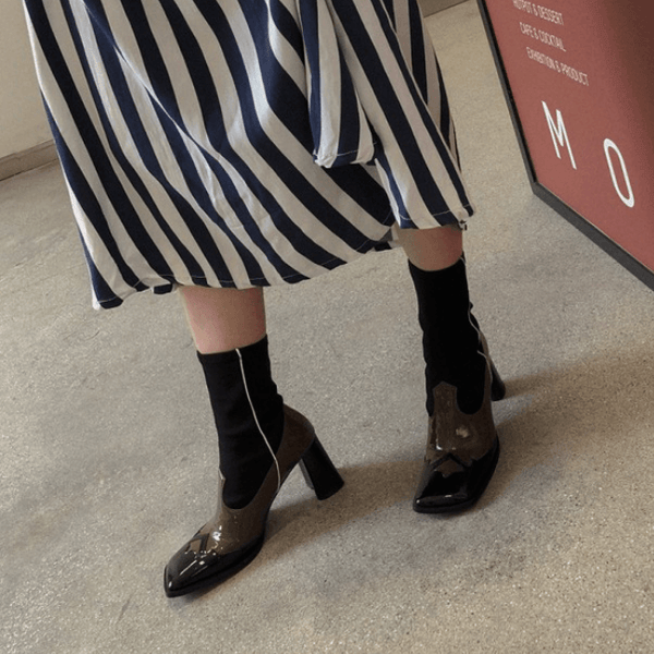 Retro Square Toe Patchwork High Heel Boots