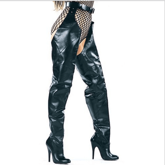 Black High Heel Belt Thigh High Boots